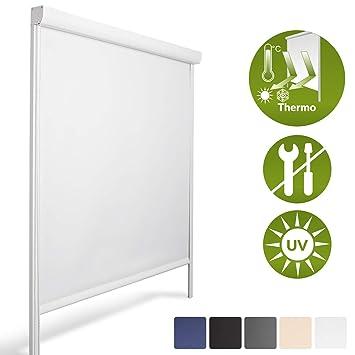 Tende A Rullo Con Guide Laterali Per Esterni.Sol Royal Tenda A Rullo Oscurante Solreflect K24 Con Guide Laterali 120x175 Bianco Installazione Senza Perforare Pareti
