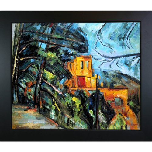 overstockArt Chateau Framed Oil Reproduction of an Original Painting by Paul Cezanne, New Age Wood Frame, Black Finish