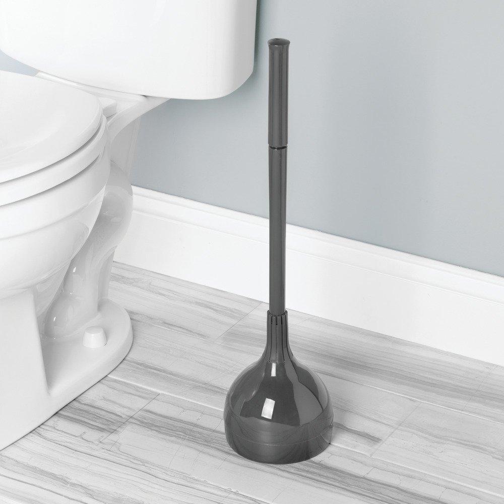 Bleu Gris Plastique 14,5 x 0,25 x 55,1 cm InterDesign 94105EU Support et Ventouse de WC pour Les Toilettes