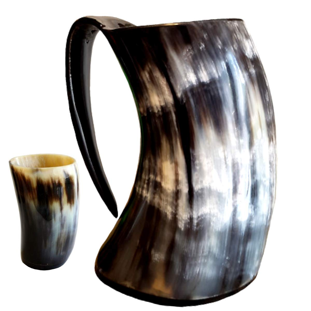 Genuine Viking Drinking Horn Mug Medieval Beer Tankard   20oz capacity   Highest Quality Horn Cup/Stein With Free Horn Shot Glass   Perfect Gift