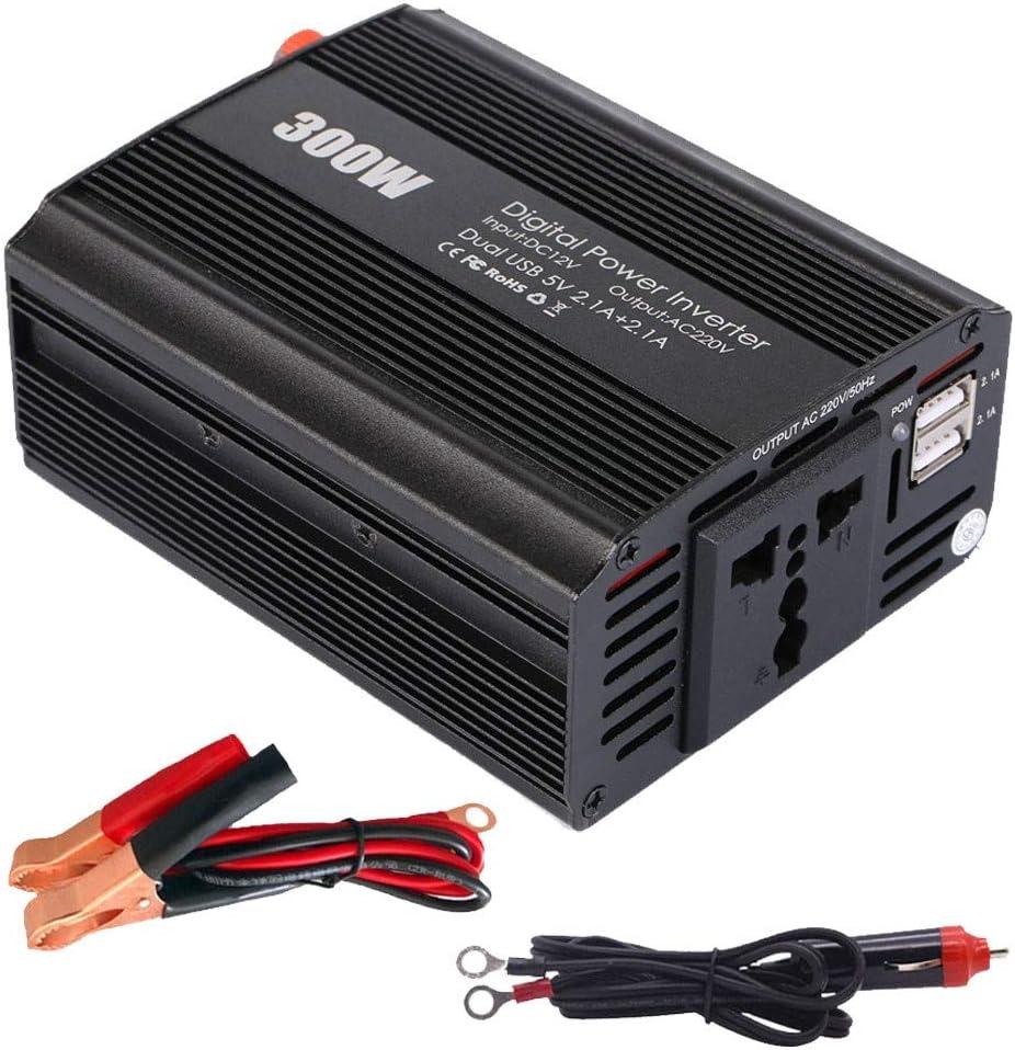 XBNBQ Adaptador de inversor de Corriente para automóvil de 300 vatios DC 12V a 220V CA con 1 Enchufe Universal y Puertos USB duales para teléfonos móviles, tabletas, extractores de Leche