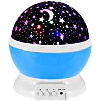 Baby Kids Star Night Light, Moon Star Projector 360-Degree Rotating - Desk Lamp 4 LEDs 8 Colors Charging with USB Cable…