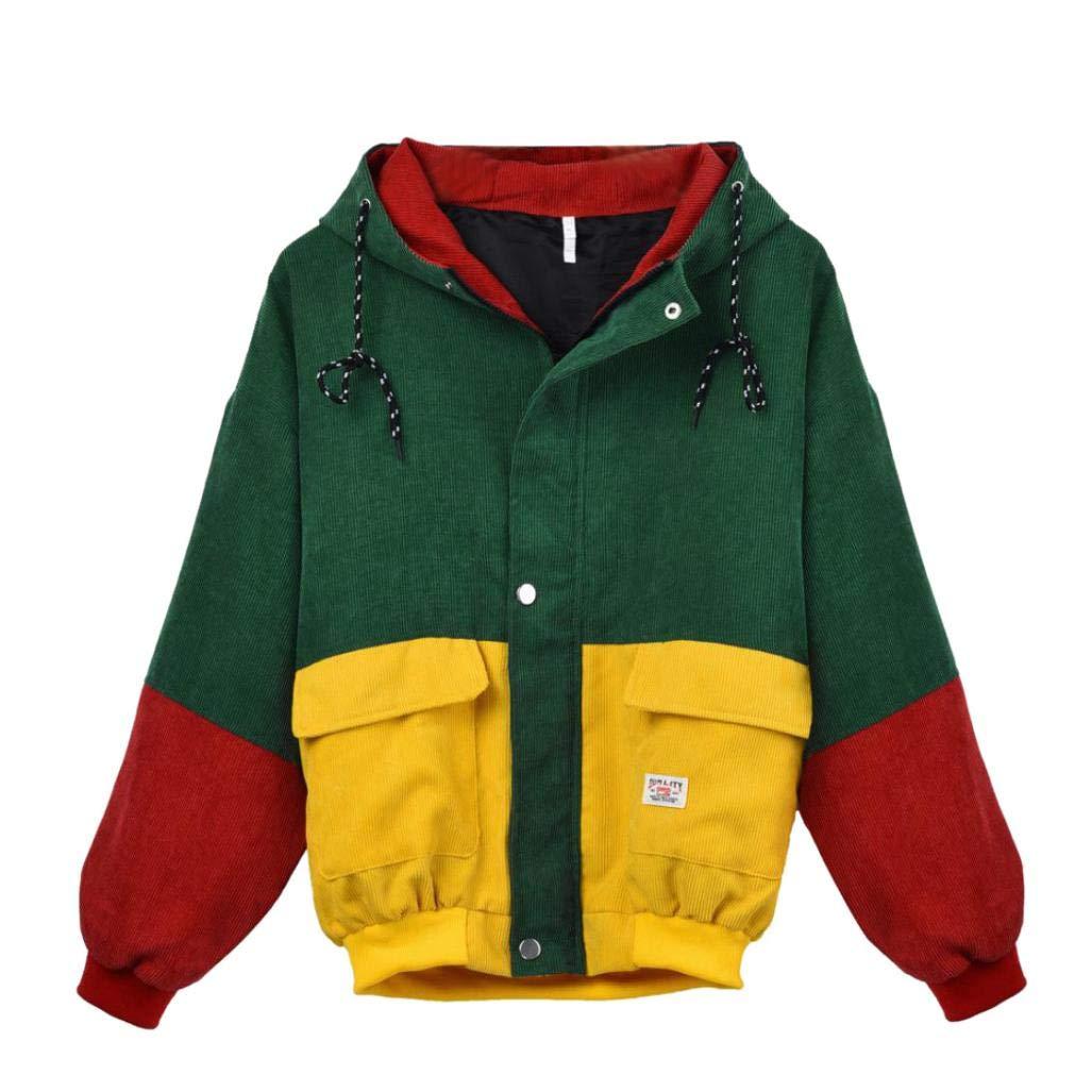 iDWZA Women's Warm Corduroy Patchwork Oversize Jacket Windbreaker Coat Overcoat(3XL,Wine Red)