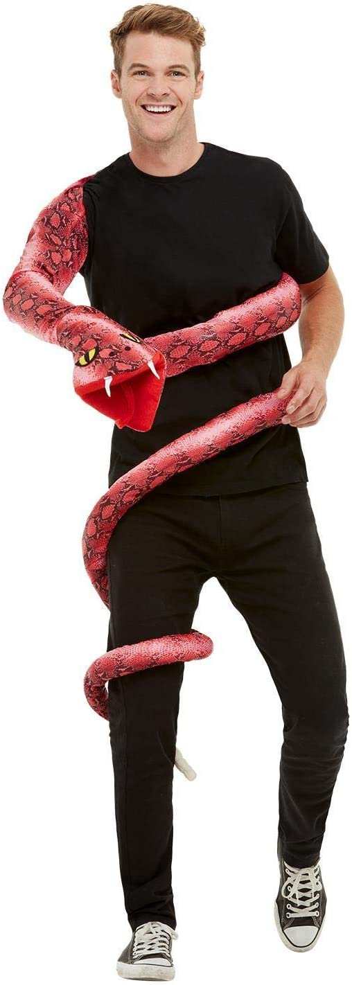 Red Anaconda Serpent Costume With Body Wrap-around /& Snake Head Hand Puppet
