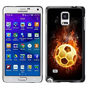 LOVE FOR Samsung Galaxy Note 4 Flaming Soccer Football Ball Personalized Design Custom DIY Case Cover
