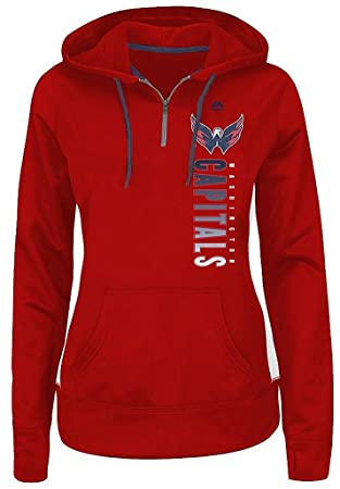 Washington Capitals NHL Womens Rising 1/4 Zip Pullover Hoodie Red Plus Sizes  (2X