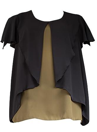 ae1479c5132b11 Emily New Ladies Khaki Black Layered Frilled Plus Size Blouse Top:  Amazon.co.uk: Clothing