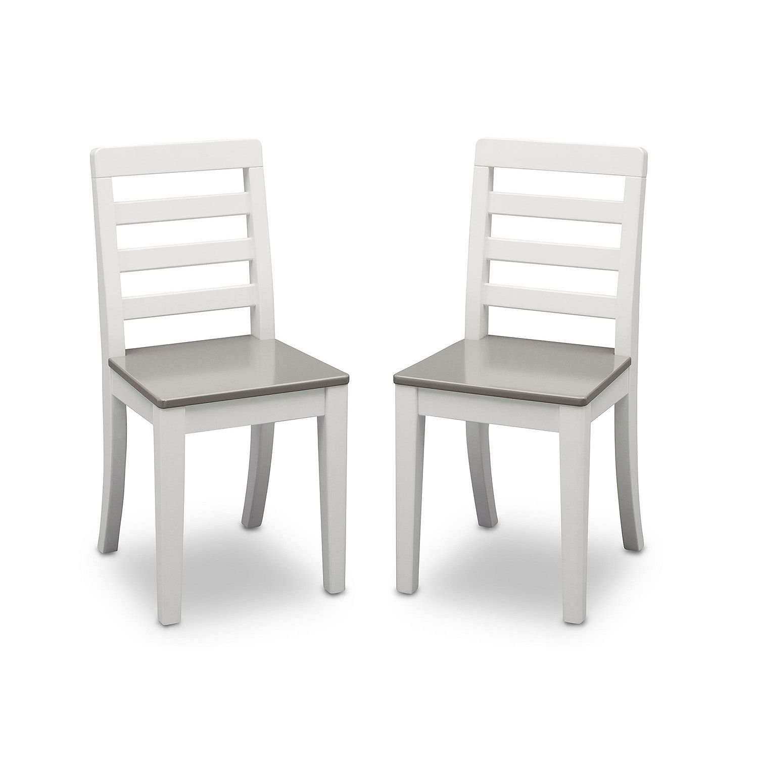 Delta Children Table and Chairs, 3-Piece Set (White and Grey)