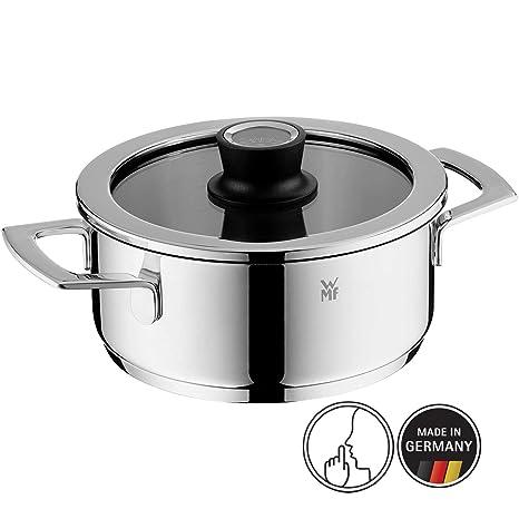 WMF 777206380 Olla de 20 cm con termómetro integrado, apta para todo tipo de cocinas incluida inducción, 2.5 litros, Cromargan, acero inoxidable