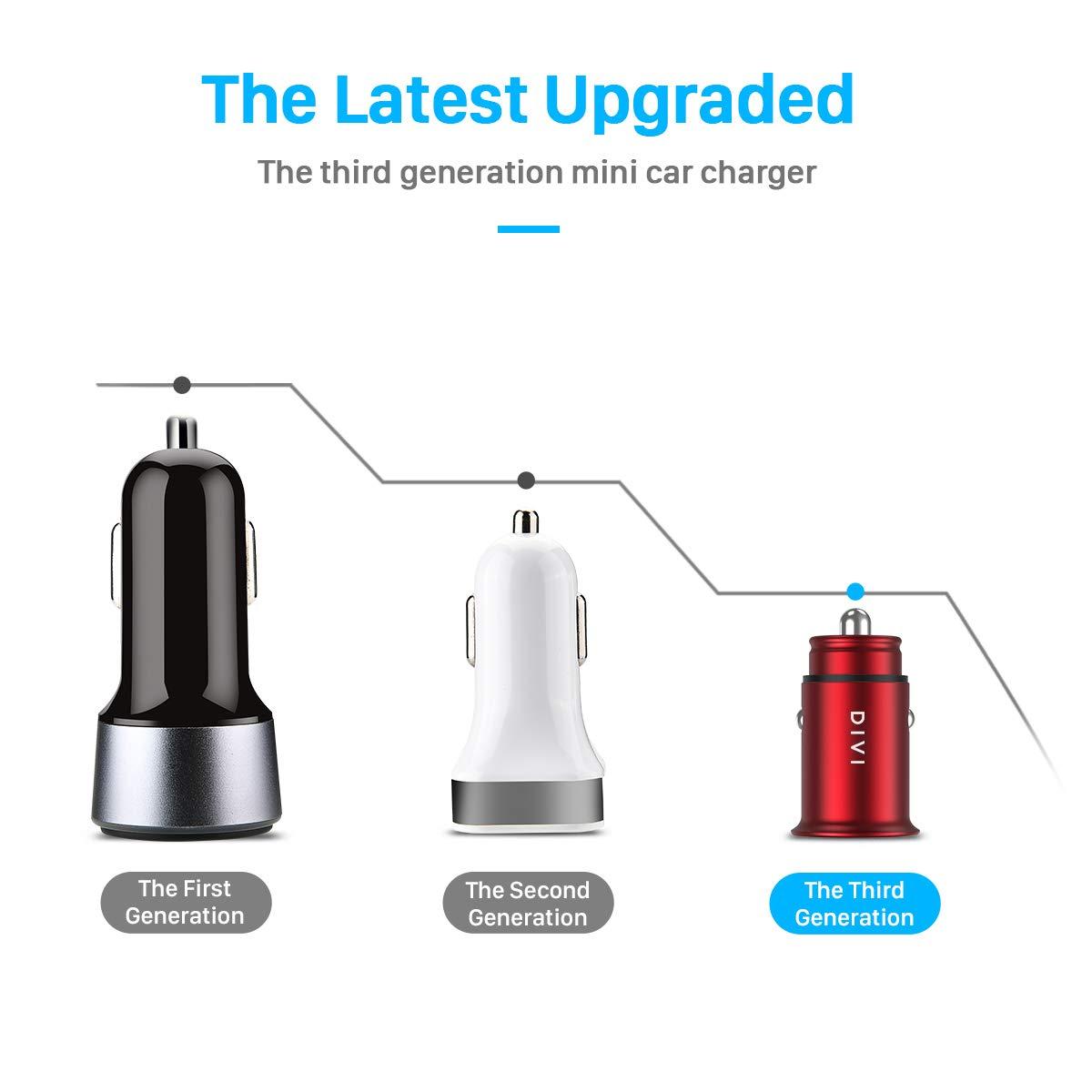 DIVI Cargador de Coche con Doble USB Puerto Cargador Móvil 5V/4.8A/24W, Adaptador Automóvil con Fast Charging Mini Small Size para Phone X / 8/8 Plus / 7, ...
