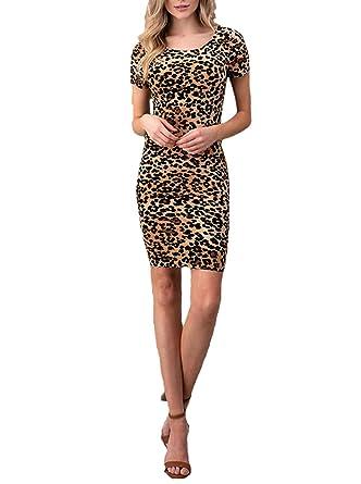 d5b48e6f4ee9 Simply Savvy Co USA Petite Stylish Leopard Cheetah Animal Print Midi Dress  Gown for Women (