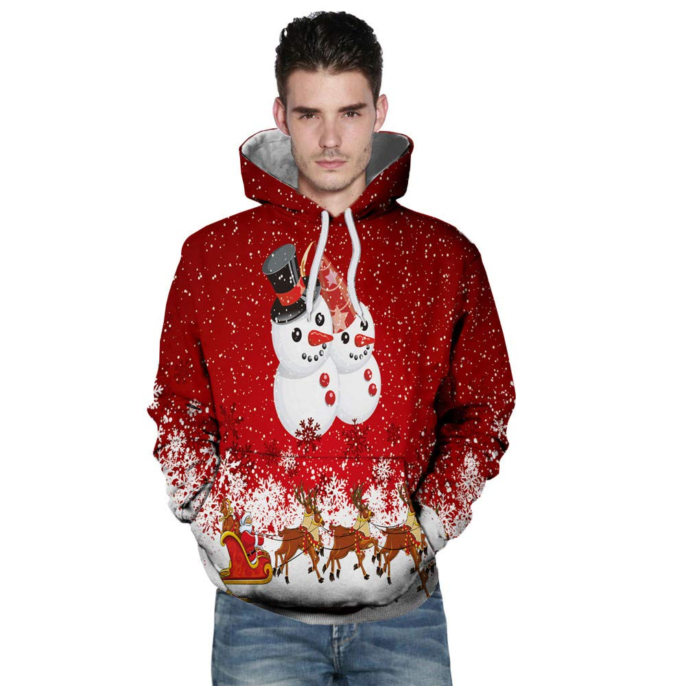 SUJING Men's Christmas Pullover Sweatshirts 3D Santa Xmas Printed Long Sleeve Shirts M-3XL