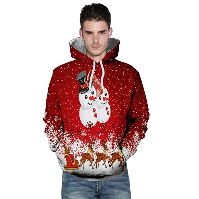 Yvelands Pareja Sudadera navideña, Sudaderas con Capucha Active para Hombres Casual Impresión 3D Novedad Suéter