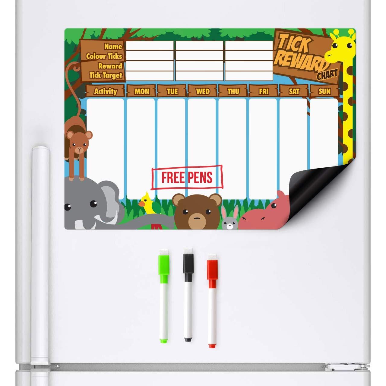 CKB Ltd Magnetischer Belohnungsdiagramm Dschungel Belohnungstafel Schlie/ßt 3 Markierungs-Stifte A3 trockenes Wischen Sie Magneten Brett-Planer-Verhalten-Diagramme Magnetisches Whiteboard K/ühlschrank