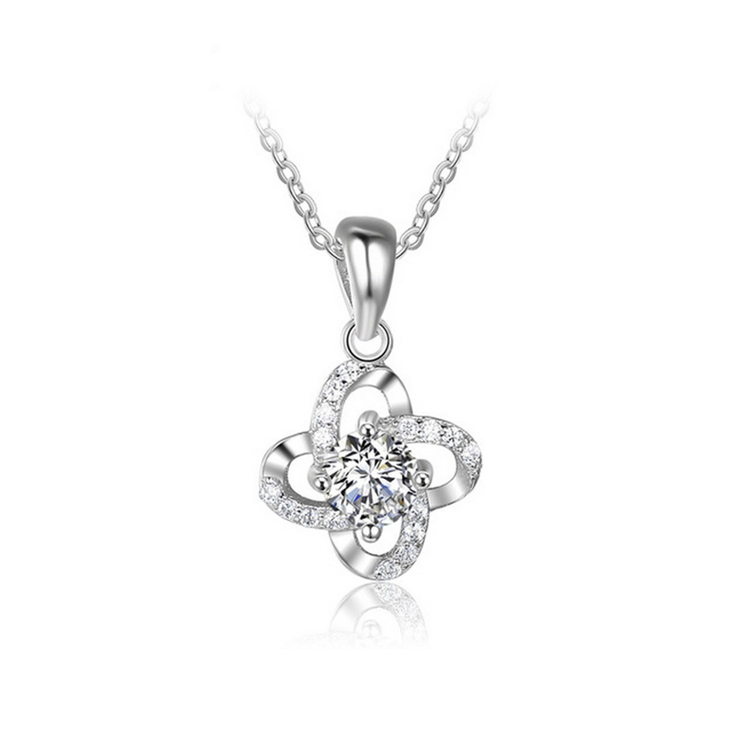 CS-DB Jewelry Silver Four Leaf Clover Chain Charm Pendants Necklaces