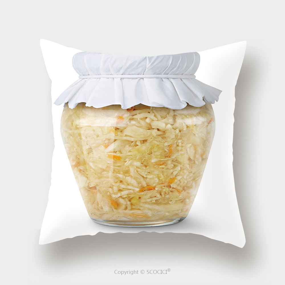 Custom Satin Pillowcase Protector Isolated Sauerkraut Marinated Cabbage Sauerkraut In Glass Jar With Paper Lid Isolated On White 73493944 Pillow Case Covers Decorative by chaoran