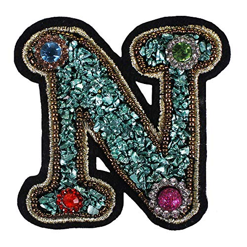 EMDOMO 5pieces 26 English Letters Alphabet Badges Embroidery Beads Patches Applique Iron on Clothes Shoes Bags Decoration DIY TH1260 (N)