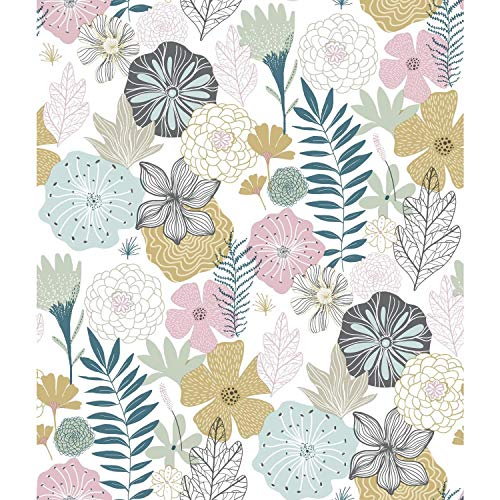RoomMates Perennial Blooms Peel and Stick Wallpaper