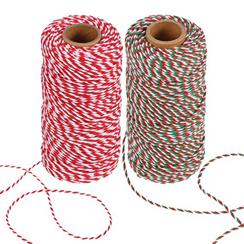 BBTO 2 Pieces Christmas Twine 2 mm Cotton String for Gift Wrapping, Arts Crafts 656 Feet Totally (Multicolor A)