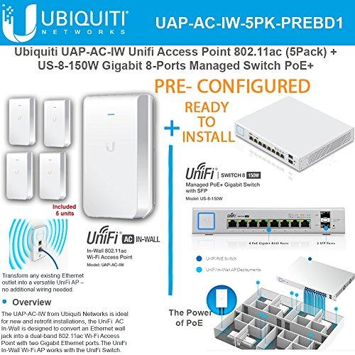Ubiquiti UAP-AC-IW AP 802.11ac PRECONFIG 5Pk + US-8-150W Gigabit 8-Ports Switch by Ubiquiti Networks