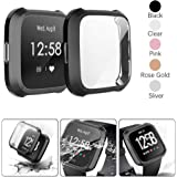 ACUTAS TPU Screen Protector Case Cover Scratches Protection Shell Case for Fitbit Versa Lite Smart Watch (Black)