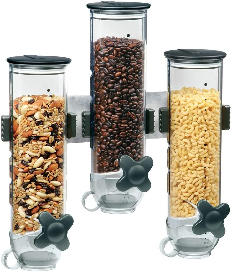 Wall Mount Dry Food Dispenser/Three Cereal Dispenser, 7.5 oz Each Cereals Container, for Keep Grain Fresh,Black