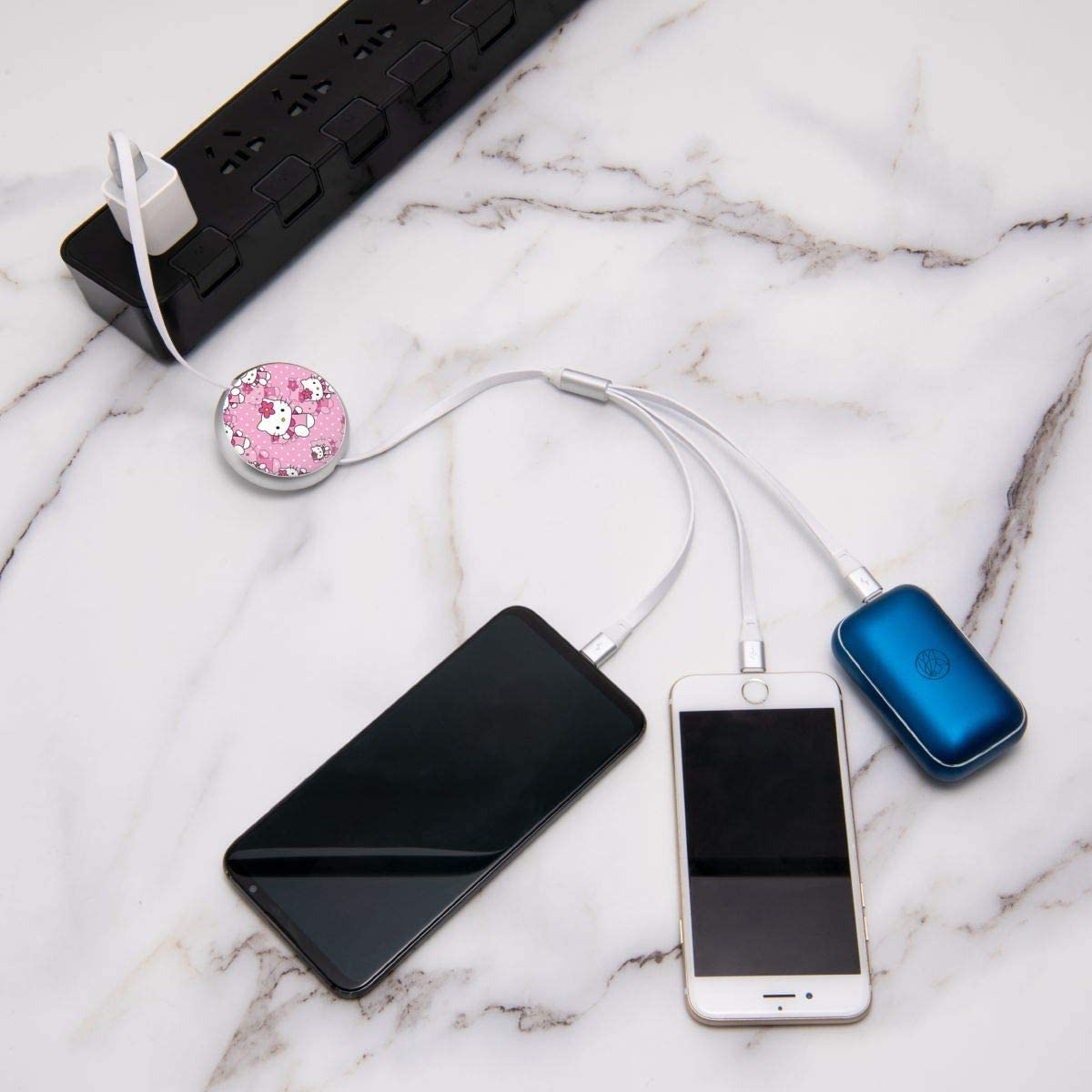 Hello Kitty USB Cable Three-in-One Round Charger Telescopic Data Multifunction Cable