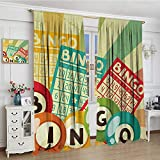 smallbeefly Vintage Waterproof Curtain Bingo Game with Ball and Cards Pop Art Stylized Lottery Hobby Celebration Theme Lengthened Blackout Draperies For Bedroom 72''x108'' Multicolor