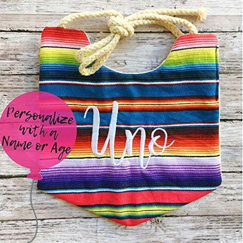 Personalized First Birthday Bib,Fiesta Bib,Boho Bibs for Boys,Boho Bibs for Girls,Boho Baby Bib,Bandana Bib,First Birthday Bib,Mexican Serape Blanket Print Cotton,Uno Bib, One - Birthday 1st Personalized Bib
