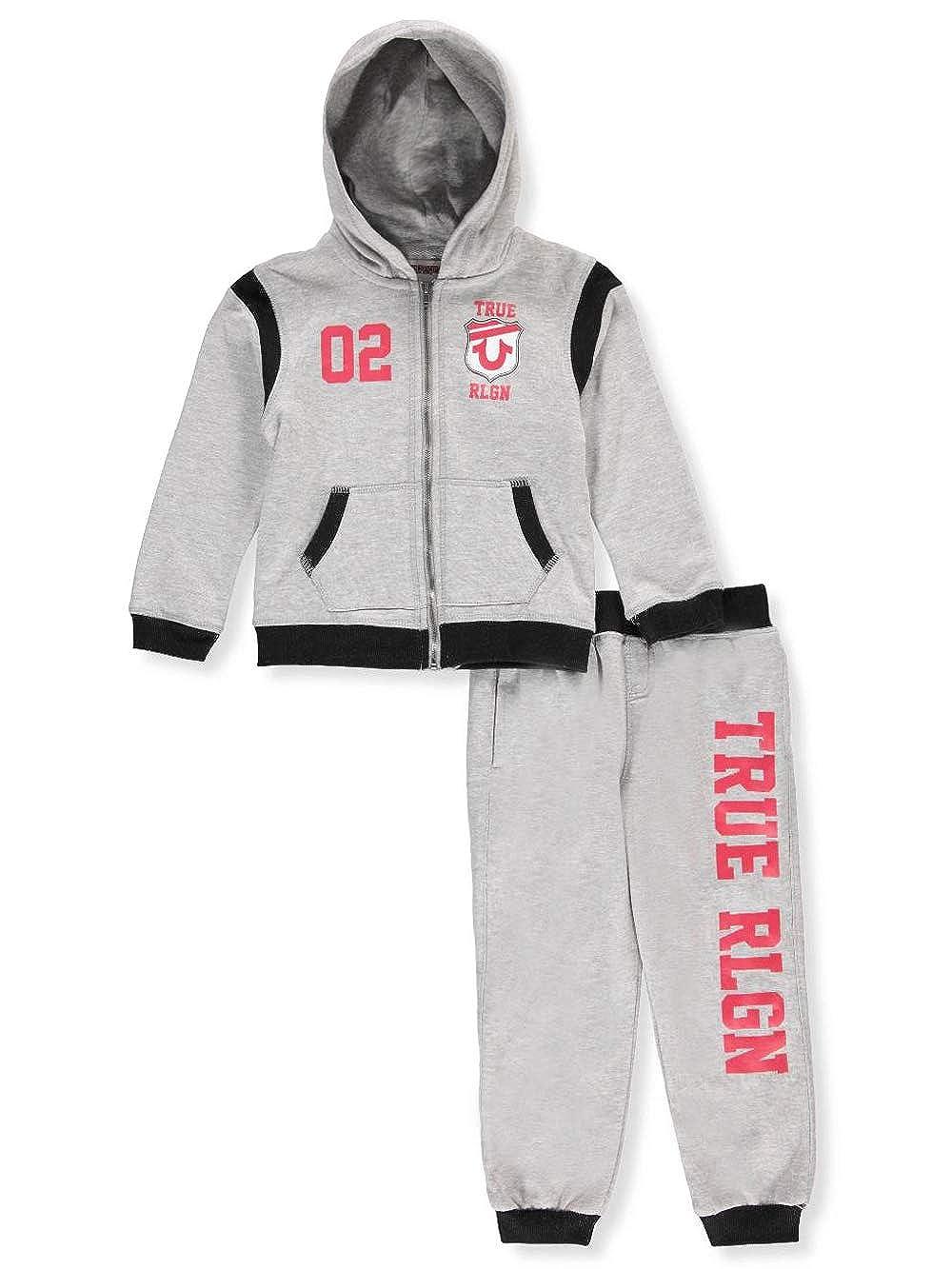 1e024715f True Religion 2-piece sweatsuit pants set. Fleece hoodie with zip closure,  jersey hood lining, split kangaroo pocket, contrast rib-knit trim, ...