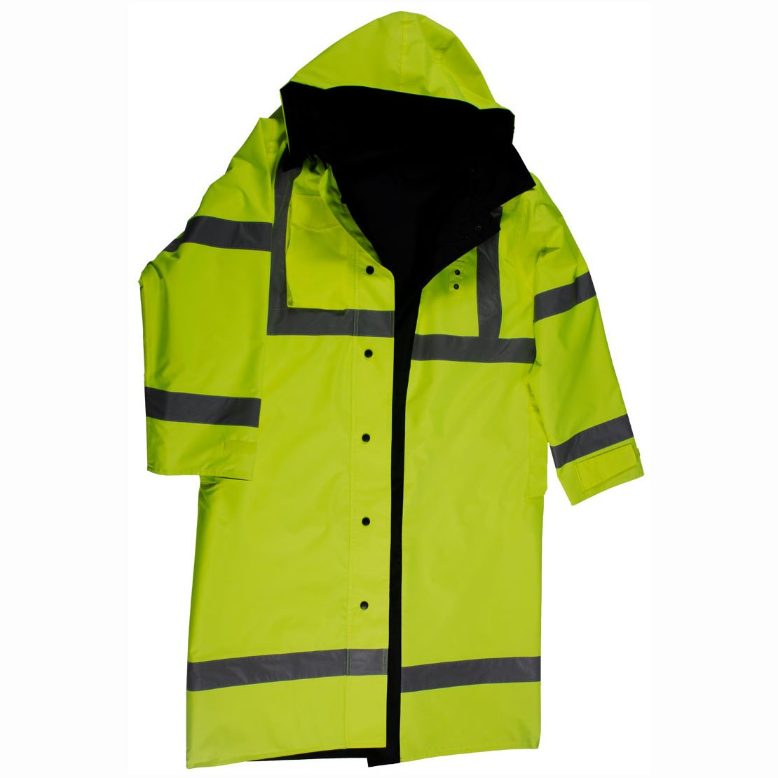 Petra Roc LRC-48RV-C3-2X 48'' Rain Coat Waterproof, Reversible Lime/Black, ANSI Class 3, w/Detachable Hood & Side Slits, 2X