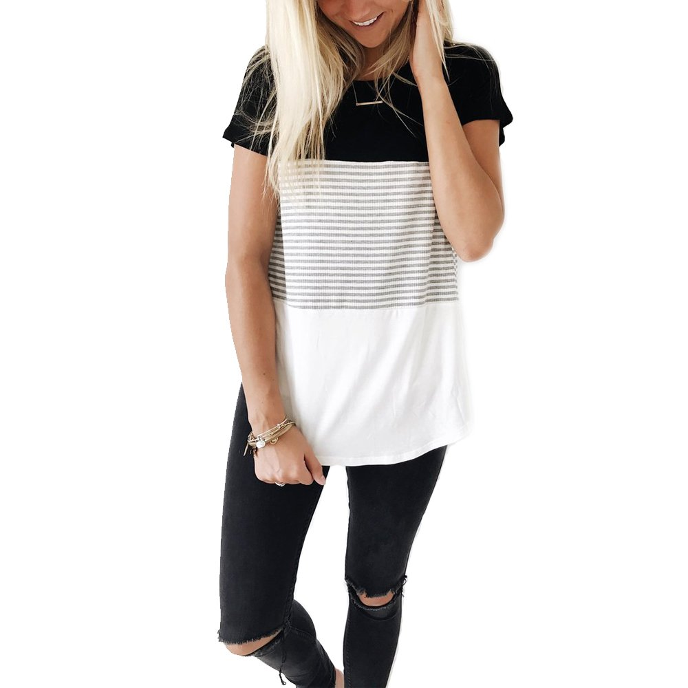 YunJey Round Neck Triple Color Block Stripe T-Shirt