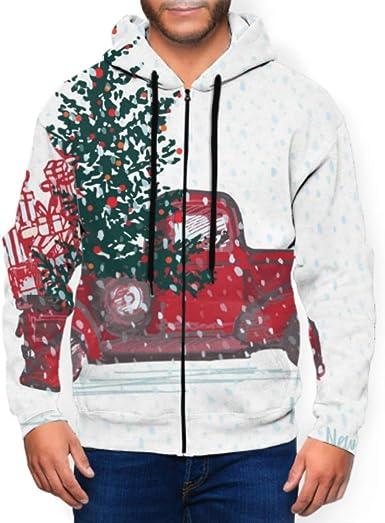 CHQTG Long Sleeve Hoodie Print Cartoon Gingerbread House Jacket Zipper Coat Fashion Mens Sweatshirt Full-Zip S-3xl