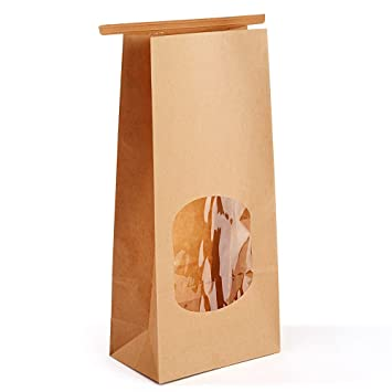 e6128712cf Halulu Bakery Bags Paper Treat Bags Resealable Kraft Paper Bags Cookie  Popcorn Bags with Windows,