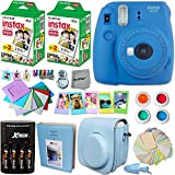 Fujifilm Instax Mini 9 Instant Camera COBALT BLUE + INSTAX Film (40 Sheets) + Accessories Kit / Bundle + Custom Fitted Case + Photo Album + 4 AA Rechargeable Batteries & Charger +Assorted Frames +MORE