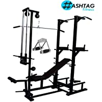 HASHTAG FITNESS ABS Tower with Ground pully Handle,20 in 1 Gym Bench & Push up dips Workout Home Gym equipments