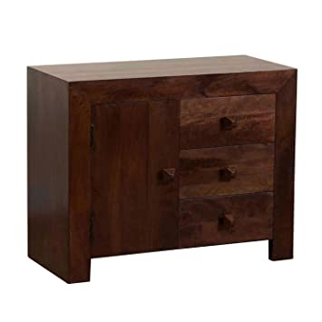 Homescapes Dakota Small Sideboard With Drawers Dark Shade Solid Mango Wood  Living Room Furniture (No Part 54