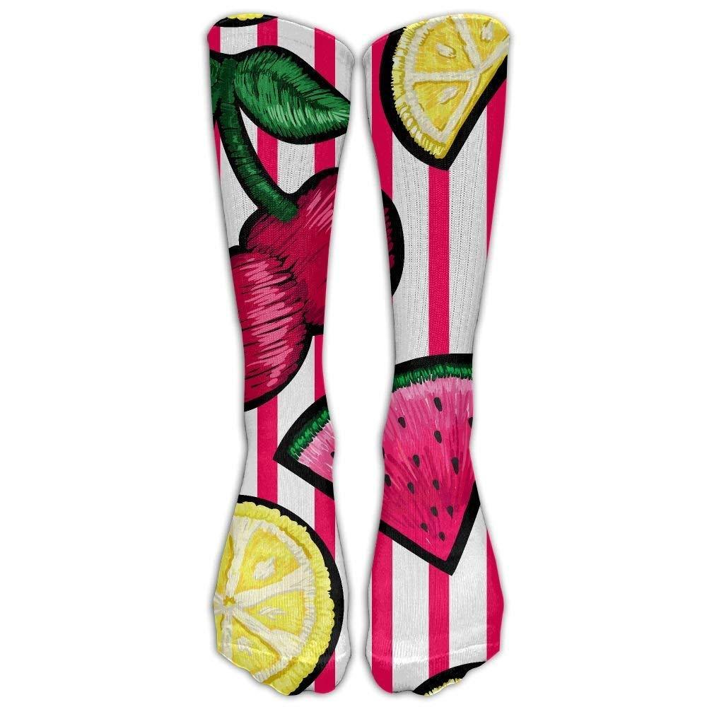 FUNINDIY Fruits Stripe Athletic Tube Socks Women Men High Socks Crazy Socks