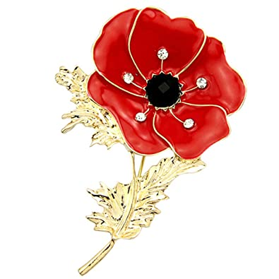 willkey Poppy Pin Badge Enamel Crystal Poppy Brooches Red Flower Gold Leaf  Remembrance Badge Gift