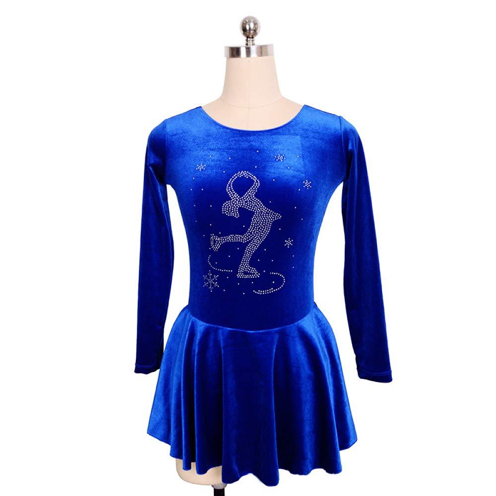 bleu S(chest65cm) Costume Haut De Gamme pour Fille Robe De Patinage sur Glace Extensible en Strass Velours Robe De Manches Longues pour Gymnastique Rythmique Bleu
