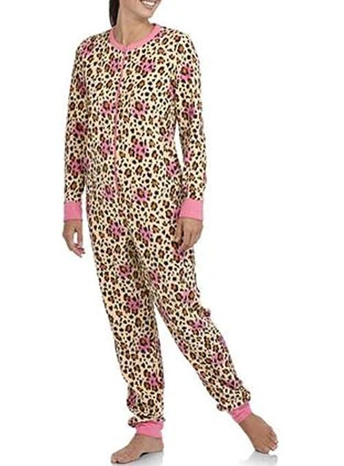 20b274be09df Amazon.com: L One Piece Leopard Fleece Pajamas Womens Animal Print Adult Union  Suit: Toys & Games