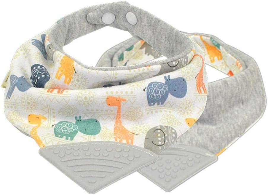 Samber 2PCS Cotton Baby Triangle Bib Baby Bandana Drool Bibs for Boys and Girls Drooling eething and Feeding with Teether Soothes/and/Massages//Babys/Gums///C