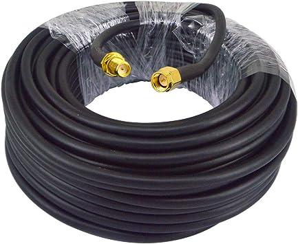 YILIANDUO Cable coaxial RG58 SMA macho a SMA hembra Bulkhead Low Loss WiFi de 15 metros para cable de antena FPV cable de red WLAN de dos vías