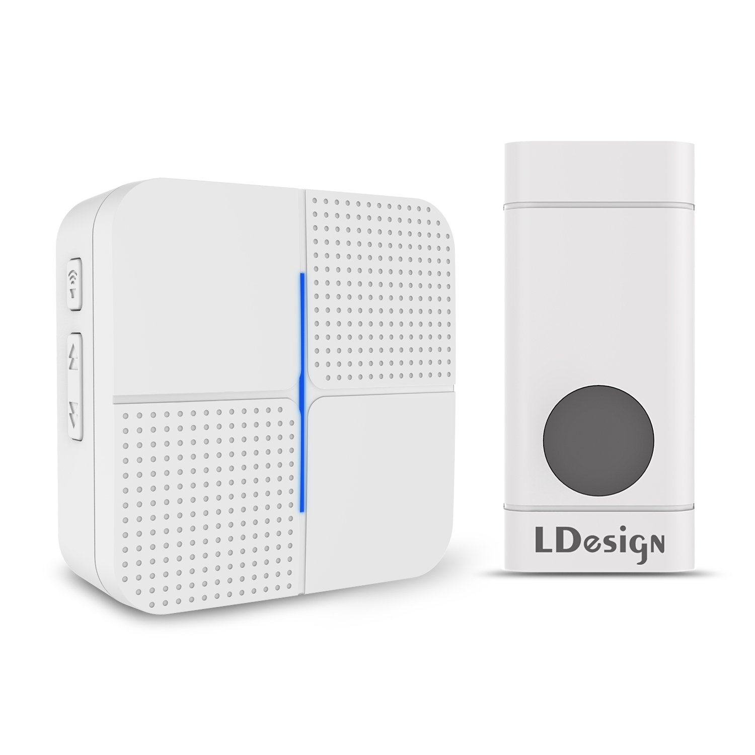 Wireless Doorbell by LDesign, Waterproof DoorBell Kit Mini Door Chime - 1000 feet Operating &- 1 Plug-In Receiver & 1 Push Button Transmitter with Battery (White)