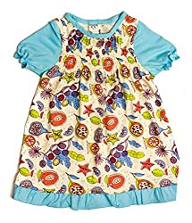 Origany Baby Girls' Tropical Fruit Smocked Top 12-18M Blue