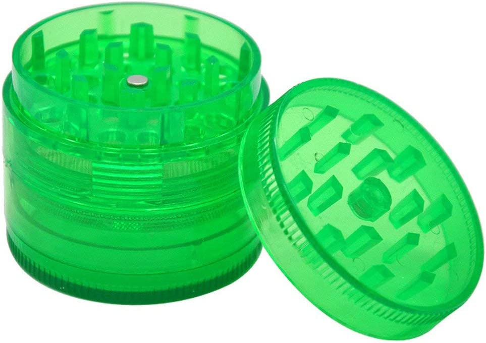 Greatangle 4-Layer Plastic Smoke Grinder Hand Muller Herb Smoke Tobacco Smoke Grinder Crusher Grinding Green