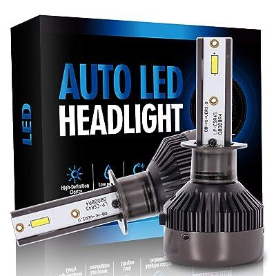 cciyu H1 Led Headlight Bulb, Brighter Cree White Headlamp Conversion Kit Hi/Lo Beam 8000Lm 80W 6000K 12CSP Chips Focus Light - 1 Year Warranty(2pcs): Automotive