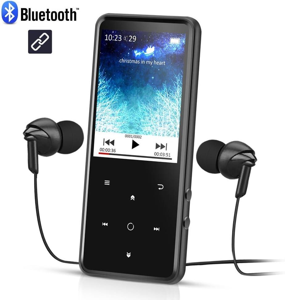 Reproductor Mp3 Bluetooth 8 GB, Pantalla 2.4 pulgadas a Colores, Mp3 Player de Metalico con Radio FM y Ranura para Micro SD Tarjeta, Color Negro- AGPTEK C2