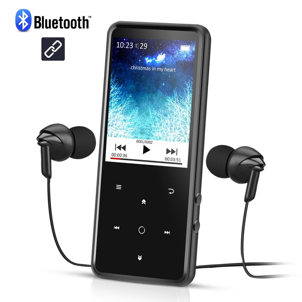 Reproductor Mp3 Bluetooth 8 GB, Pantalla 2.4 pulgadas a Colores, Mp3 Player de Metalico con Radio FM y Ranura para Micro SD Tarjeta, Color Negro- AGPTEK C2