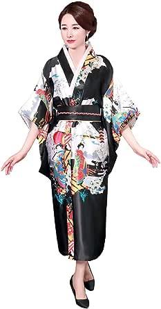 Shanghai Story Print Japanese Traditional Clothing Women Satin Kimono Gown Vintage Yukata